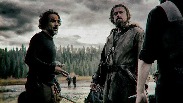 Leo DiCaprio on the set with director Iñárritu