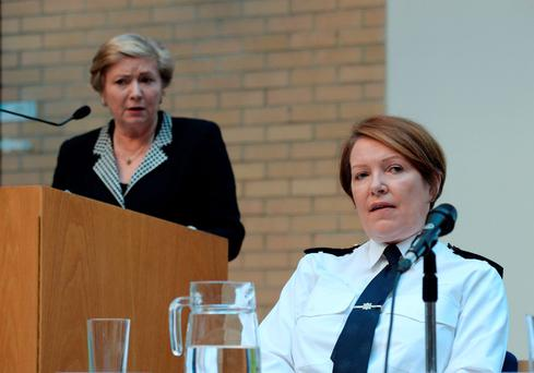Garda Commissioner Nóirín O'Sullivan listens during a speech by Justice Minister Frances Fitzgerald at the publication of the 'Second National Strategy on Domestic, Sexual and Gender-based Violence 2016-2021' in Dublin yesterday. Photo: Caroline Quinn