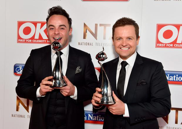 Ant & Dec with the award for Best TV Presenter pictured backstage at the Nation Television Awards 2016. Photo: Matt Crossick/PA Wire.