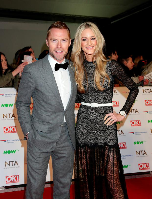 Ronan Keating and Storm Uechtritz arriving at the National Television Awards 2016 held at The O2 Arena in London.