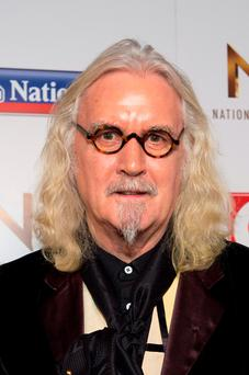 Billy Connolly pictured backstage at the Nation Television Awards 2016, at the O2 Arena, London. Photo: Matt Crossick/PA Wire.