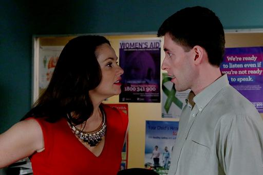 Fair City - Shane gives into his passion L-R Heather - Una Kavanagh Shane - Anthony Delaney