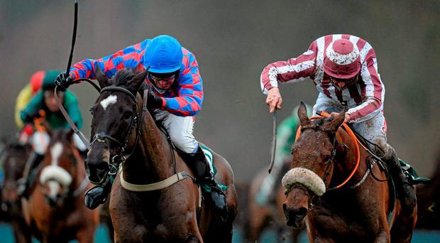 My Murphy, with Robbie Power up, left, along side Mala Beach, with Davy Russell up, on their way to winning the Goffs Thyestes Handicap Steeplechase. Gowran Park, Gowran, Co. Kilkenny. Picture credit: Seb Daly / SPORTSFILE