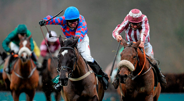 My Murphy and Robbie Power (left) get the better of Mala Beach (Davy Russell) in the Thyestes Chase (SPORTSFILE)