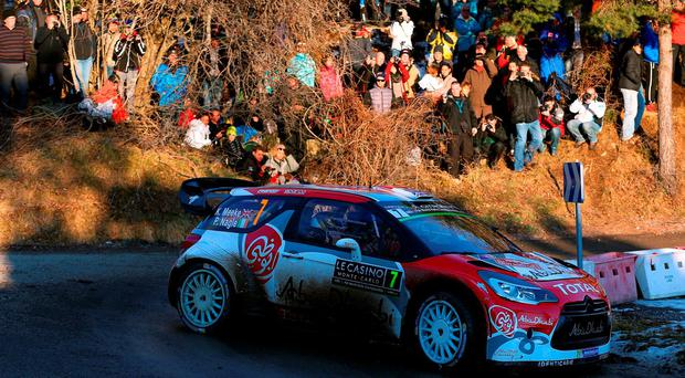 Kris Meeke and Paul Nagle of Ireland compete in their Abu Dhabi Total WRT Citroen DS3 WRC during the Shakedown of the WRC Monte Carlo