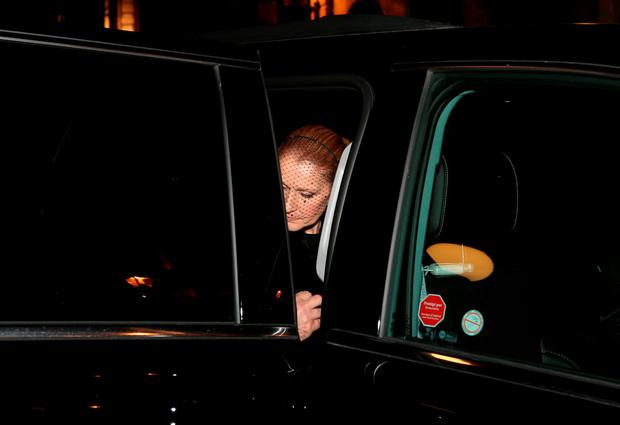 Celine Dion leaves after attending a Public Memorial Service for Celine Dion's Husband Rene Angelil at Notre-Dame Basilica on January 21, 2016 in Montreal, Canada. (Photo by Tom Szczerbowski/Getty Images)