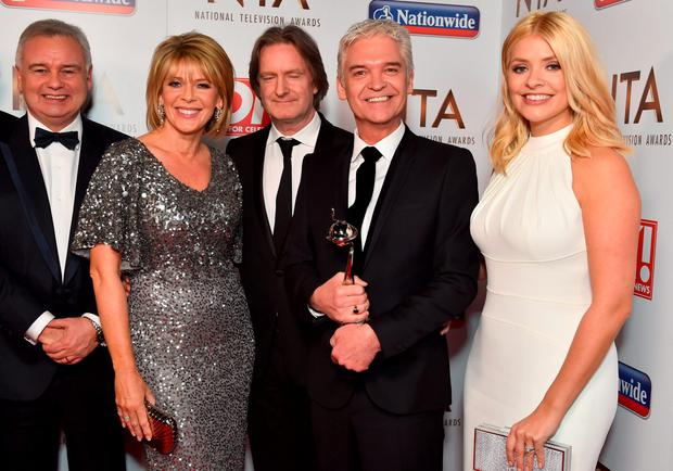 Eamonn Holmes, Ruth Langsford, Phillip Scofield and Holly Willoughby with the award for Best Live Magazine Show pictured backstage at the Nation Television Awards 2016, at the O2 Arena, London