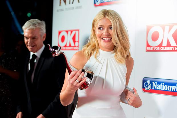 Holly Willoughby with the award for Best Live Magazine Show pictured backstage at the Nation Television Awards 2016, at the O2 Arena, London
