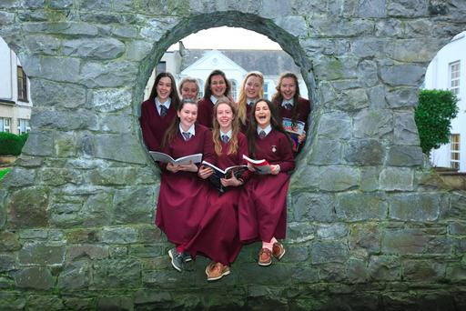 Laurel Hill Colaiste FCJ Limerick students Rebeca Ni Laoi, Cait Nic Suibhne, Fiona Ni Aznin, Lucy Ni Choncubhair, Mhadain, Alison Nic Gearailt & Ciara Ni Mhordha & Caoimhe Ni Mhurchu . Laurel Hill Colaiste FCJ was voted the best school in Ireland. Photo: Brian Gavin / Press 22