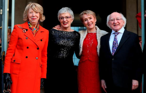 Sabina Higgins, Katherine Zappone, Ann Louise Gilligan and President Michael D Higgins during Zappone and Gilligan's wedding ceremony at City Hall, Dublin. Photo: Niall Carson/PA Wire