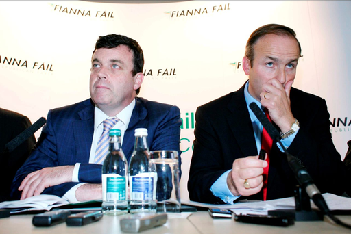 Then Finance Minister Brian Lenihan and Foreign Affairs Minister Micheál Martin face the press two weeks before the bank guarantee. Photo: Brian Farrell