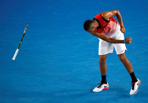 Nick Kyrgios throws his racquet in anger during his match with Tomas Berdych Photo: REUTERS/Jason Reed