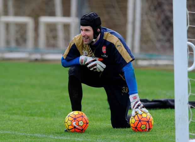 Petr Cech takes a breather during training yesterday ahead of tomorrow's showdown with Chelsea Photo:Getty