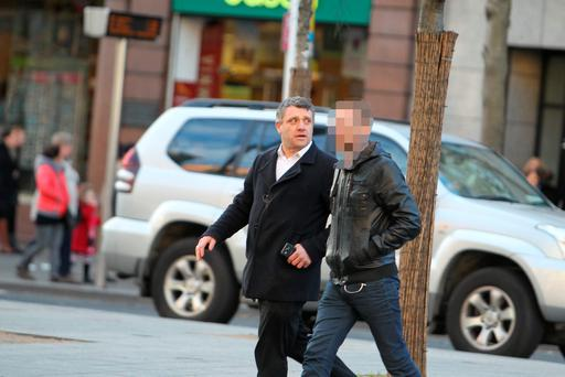Reporter Niall Donald (left) meets his contact in Dublin city centre