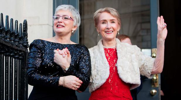 Katherine Zappone and Ann Louise Gilligan at their wedding ceremony in City Hall, Dublin. Photo: Gareth Chaney Collins