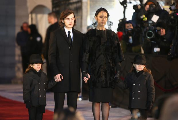 Recording artist Celine Dion and children Rene-Charles Angelil, Eddy Angelil and Nelson Angelil attend the State Funeral Service for Celine Dion's Husband Rene Angelil at Notre-Dame Basilica on January 22, 2016 in Montreal, Canada. (Photo by Tom Szczerbowski/Getty Images)