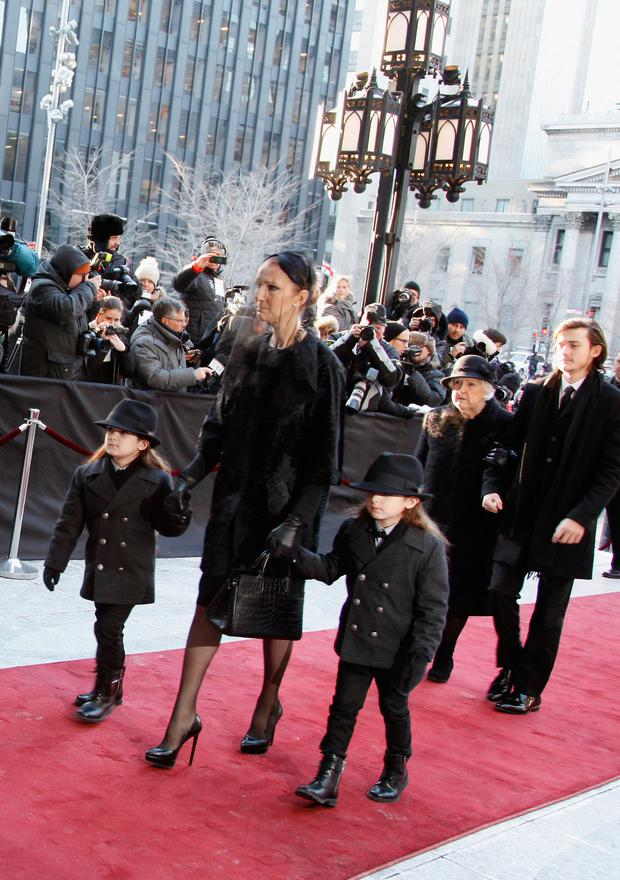 Recording artist Celine Dion, children Rene-Charles Angelil, Eddy Angelil, Nelson Angelil and Therese Dion attend the State Funeral Service for Celine Dion's Husband Rene Angelil at Notre-Dame Basilica on January 22, 2016 in Montreal, Canada. (Photo by Kate Hutchinson/Getty Images)
