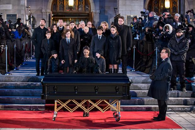 In this handout photo provided by Feeling Productions Inc., Celine Dion pays her last respects to husband Rene Angelil at Notre-Dame Basilica on January 22, 2016 in Montreal, Canada. Rene Angelil died on January 14, 2016 from cancer. (Photo by Olivier Samson Arcand / OSAIMAGES / Feeling Productions Inc. via Getty Images)