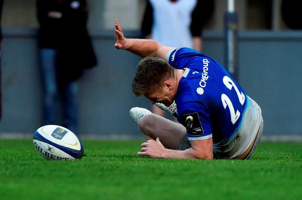 Saracens' center Owen Farrell misses his try during the European Rugby Union Champions Cup match Toulouse