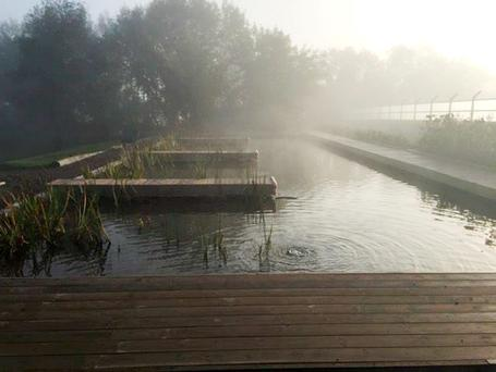 Misty waters: The outdoor swimming pool at Wild Water Armagh
