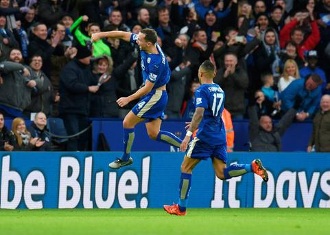 Danny Drinkwater celebrates with team mates after scoring