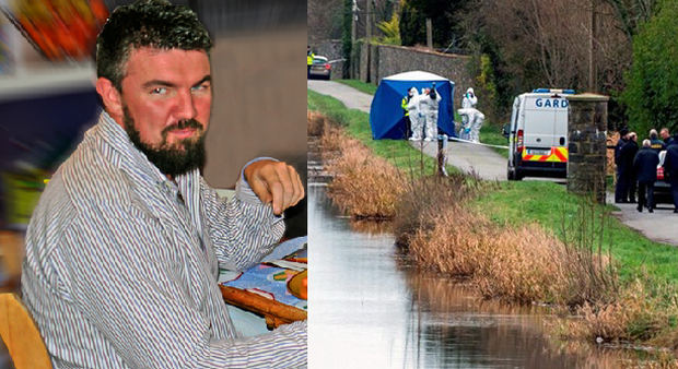 Left: Kenneth O'Brien, and right, Gardai at the scene
