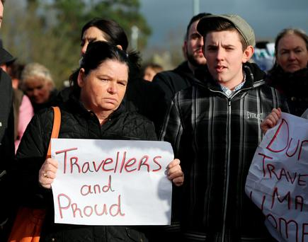 Travellers attend a protest at a Louth County Council offices after residents were evicted from a fire-risk halting site in Dundalk. Photo: Niall Carson/PA Wire