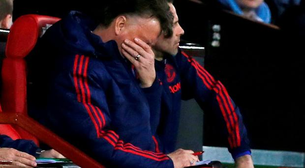 Manchester United manager Louis Van Gaal looks dejected during the 1-0 home defeat to Southampton