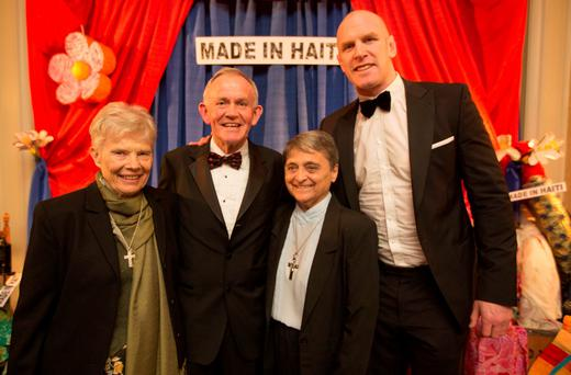 Haven Ambassador and rugby international Paul O'Connell and Haven co-founder Leslie Buckley, with Sister Patricia Dillon & Sister Jacqueline Picard, at the fifth annual Haiti Ball to celebrate Haiti Week. Photo: Fergal Phillips.