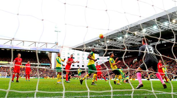 Adam Lallana (centre in red) watches his last-gasp winner fly towards the Norwich net. Photo: Getty