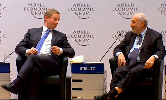 Courage and conviction: Taoiseach Enda Kenny and Nobel Prizewinner Joseph Stiglitz in Davos