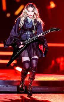 Out of control: Madonna performing on stage in Montreal, Quebec, as part of her Rebel Heart tour, which has been dogged by lateness and bad behaviour. Photo: Rich Fury/ Invision / AP