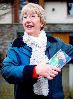 Doing the doors: Mary Hanafin on the canvassing trail in Foxrock, Dublin yesterday. Photo: David Conachy
