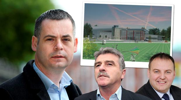 Fruits of peace: From left, Sinn Fein's Pearse Doherty, its former TD Arthur Morgan and sitting TD Padraig Mac Lochlainn. Inset, the proposed art centre for the border villages of Pettigo and Tullyhammon