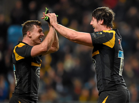James Gaskell, right, and Brendan Macken, Wasps, celebrate their victory Photo:Sportsfile
