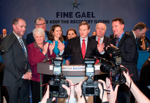 Taoiseach Enda Kenny speaks at a press briefing during the Fine Gael ard fheis in City West Photo: Ken Rockwell