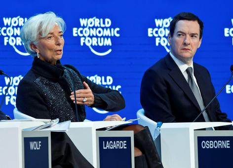 Managing Director of the International Monetary Fund Christine Lagarde and George Osborne at the World Economic Forum in Davos Photo:AP
