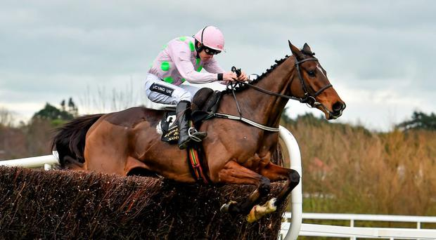 Douvan, with Ruby Walsh up, clears the last on their way to winning the Frank Ward Solicitors Arkle Novice Steeplechase. Picture credit: Brendan Moran / SPORTSFILE