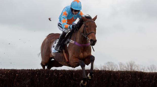 Un De Sceaux shows his jumping technique under Ruby Walsh on the way to victory at Ascot on Saturday. Photo: Julian Herbert/PA.