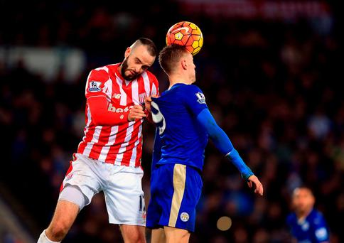 Stoke City's Marc Wilson (left) and Leicester City's Jamie Vardy battle for the ball during the Barclays Premier League match. Photo: Mike Egerton/PA.