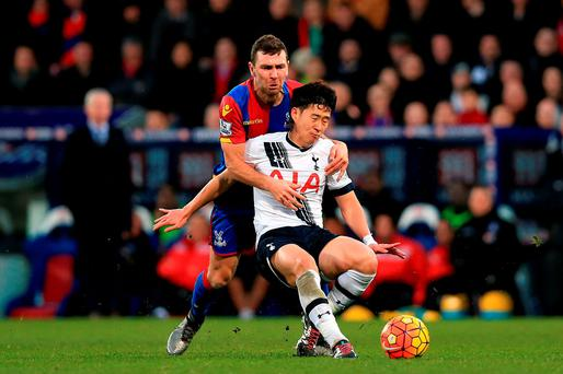 Crystal Palace's James McArthur (left) and Tottenham Hotspur's Heung-Min Son in action during the Barclays Premier League match at Selhurst Park. Photo: Adam Davy/PA.
