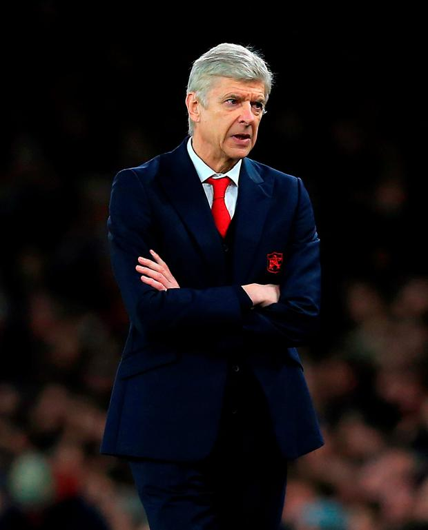 Arsenal manager Arsene Wenger during the Barclays Premier League match at the Emirates Stadium.