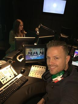 Nicky Byrne in studio waiting for his Eurovision semi final draw. Photo:@NickyByrne/Twitter