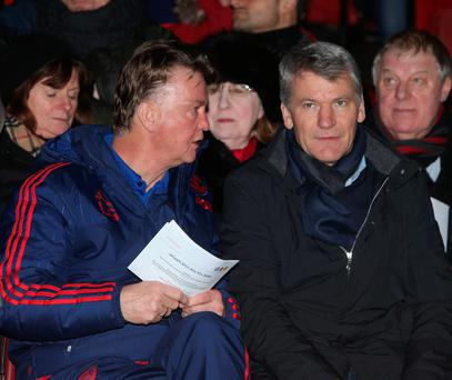 Manager Louis van Gaal of Manchester United and former Chief Executive David Gill