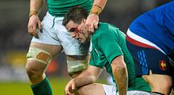 Johnny Sexton after suffering a head injury with Ireland