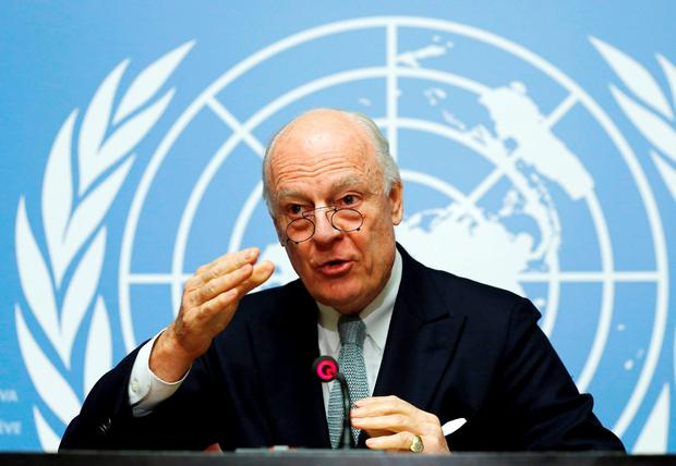U.N. mediator for Syria Staffan de Mistura gestures during a news conference at the United Nations in Geneva, Switzerland. Reuters/Denis Balibouse
