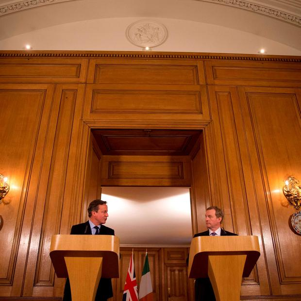 Prime Minister David Cameron (left) with Taoiseach Enda Kenny during a press conference following a meeting at No 10 Downing Street in London. Matt Dunham/PA Wire