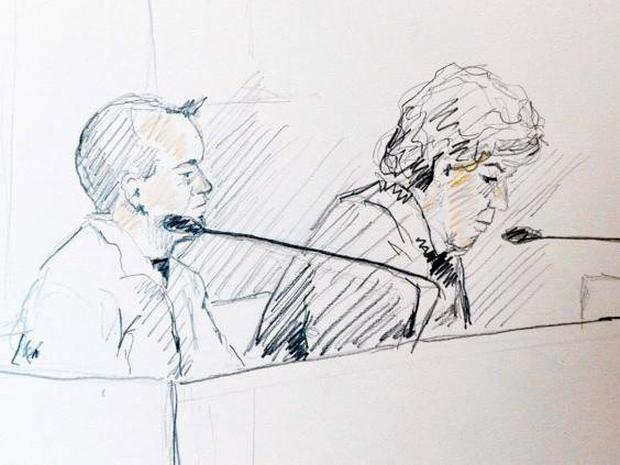A courtroom sketch of Trenneborg (left) and his lawyer