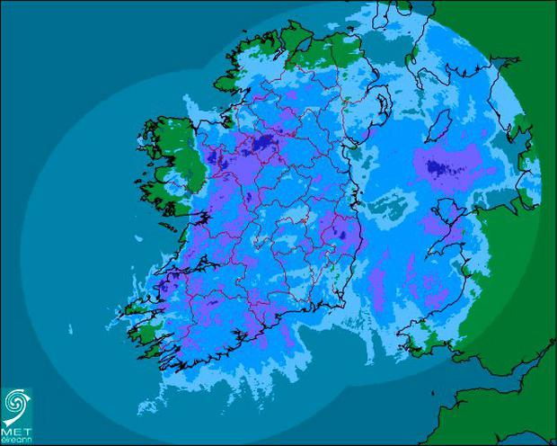 A map of the expected rainfall in Ireland for Tuesday Credit: Met Éireann