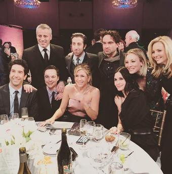 Friends stars unite with Big Bang Theory stars for a photo